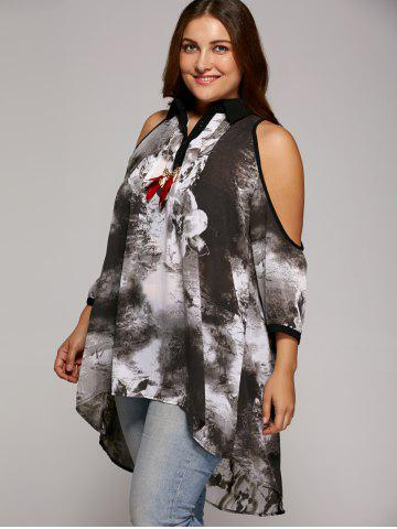 Store Plus Size Cold Shoulder Ink Painting Blouse - 3XL GRAY Mobile