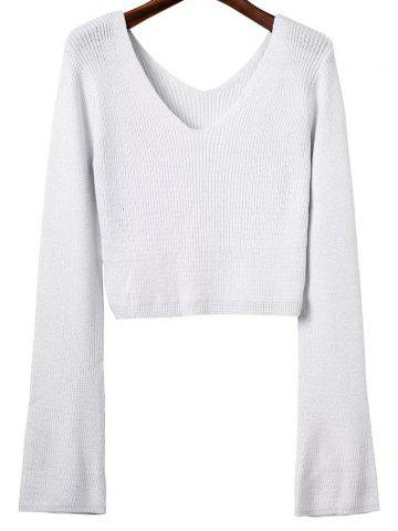 Buy V Neck Long Sleeve Cropped Sweater