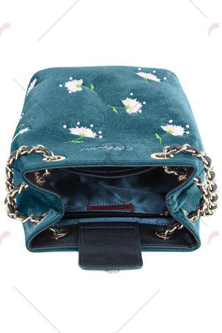 Outfit Floral Velour Crossbody Bag - BLUE  Mobile
