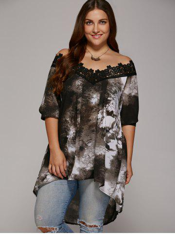 Buy Plus Size Lace Trim High Low Hem Blouse - Gray 2xl