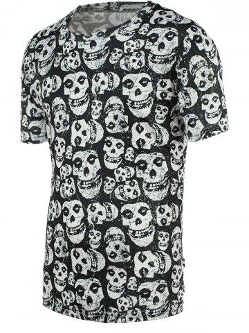 Chic Fashion Tiny Skulls Print Round Neck Short Sleeve Tee For Men
