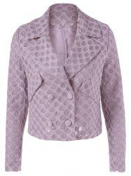 Casual Turn-down Collar Mesh Button Long Sleeves Jacket For Women -