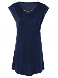 Hollow Out Summer Casual Dress With Sleeves - PURPLISH BLUE M