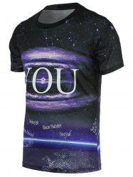 Universe Print Round Neck Short Sleeve Tee For Men - BLACK L