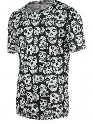 Fashion Tiny Skulls Print Round Neck Short Sleeve Tee For Men - COLORMIX S