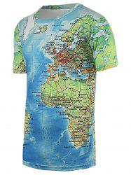 Chic Maps Print Round Neck Short Sleeve Tee For Men