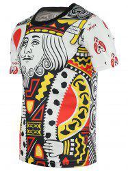 Chic Poker King Print Round Neck Short Sleeve Tee For Men - COLORMIX