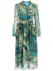 Chic Long Sleeve Peacock Feather Printed Waist Tied Chiffon Dress For Women -