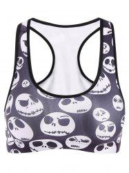 Women's Active Skull Print Sport Crop Top - DEEP GRAY