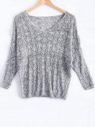 Casual V-Neck Batwing Sleeve Hollow Knitwear For Women -