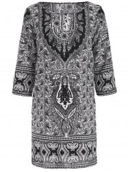 Ethnic Style Jewel Neck 1/2 Sleeve Totemic Floral Print Dress For Women -