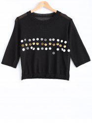 Sweet Front Sequined Pure Color Cropped Pullover Sweater -