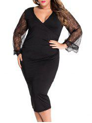 Faux Wrap Deep V Neck Lace Spliced Bodycon Dress -