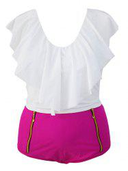 Stylish Ruffle Crop Top and High Waisted Boxers Briefs Two Piece Swimsuit -