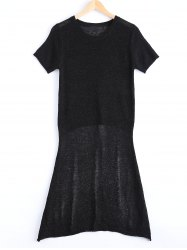 Asymmetrical Short Sleeve Jumper Dress - BLACK