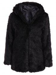 Chic Hooded Long Sleeve Solid Color Faux Fur Women's Coat