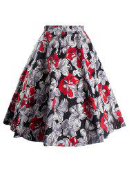 Vintage Floral Printed Skater Skirt - RED 2XL