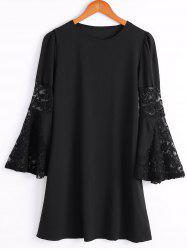 Stylish Scoop Neck Flare Sleeve Lace Spliced Chiffon Dress For Women -