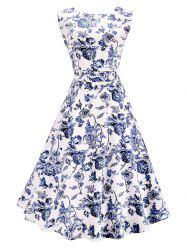 Vintage Sleeveless Floral A Line Midi Dress