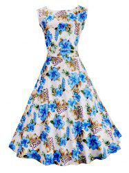Vintage Floral Printed Sleeveless Dress - BLUE AND WHITE 2XL