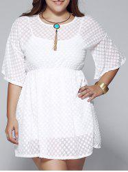 Plus Size High Waist Bell Sleeve Short A Line Twinset Dress