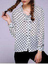 Chic Bow Tie Collar Long Sleeve Polka Dot Women's Blouse -