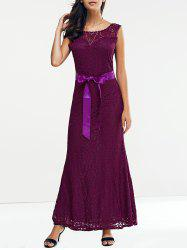 Open Back Maxi Lace Prom Dress