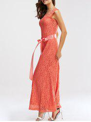 Lace Open Back Maxi Prom Dress - ORANGEPINK