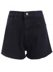 Casual Women's Black Fringed High Waist Denim Shorts -