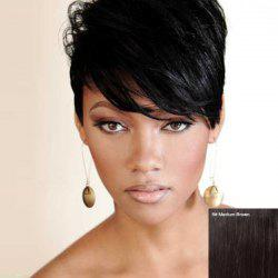 Short Straight Fluffy Side Bang Women's Handsome Human Hair Wig -