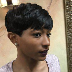 Short Full Bang Women's Masculine Human Hair Wig -