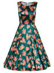 Retro Sleeveless Floral Prom Dress -