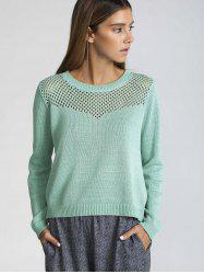 Long Sleeve Hollow Out Pure Color Sweater - GREEN M