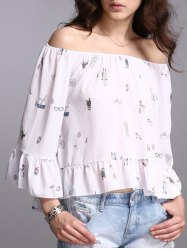 Flare Sleeve Off The Shoulder Print Blouse -