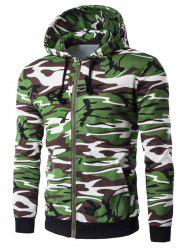 Camo Rib Spliced Zip Up Long Sleeve Hoodie For Men -