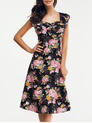 Vintage Women's Sweetheart Neck Floral Print Flare Dress