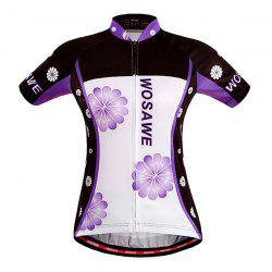 Stylish Sportware Purple Flower Design Zipper Cycling Short Jersey For Women -