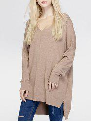 Brief Women's Pure Color Asymmetric Loose Sweater - KHAKI ONE SIZE