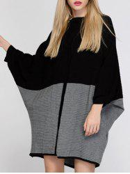 Color Block Batwing Sleeve Oversized Sweater Dress - BLACK AND GREY