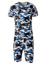 Camo Round Neck Short Sleeve T-Shirt and Elastic Waist Shorts Twinset For Men