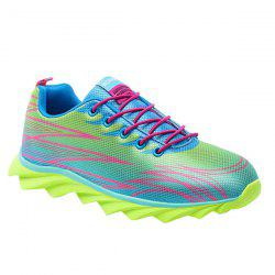 Fashion Lace-Up and Color Splicing Design Athletic Shoes For Men - NEON GREEN