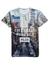 Streetscape 3D Print Round Neck Short Sleeve T-Shirt For Men