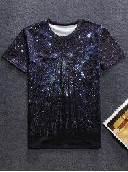 Round Neck Short Sleeve Starry Sky 3D Print T-Shirt For Men - BLACK