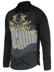 Chic Stripe Spliced Design Turn-Down Collar Long Sleeve Shirt For Men