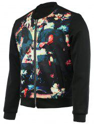 Floral Print Splicing Bomber Jacket