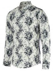 New Look Flowers Print Turn-Down Collar Long Sleeve Shirt For Men -
