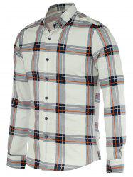 Turn-Down Collar Checked Pattern Long Sleeve Button-Down Shirt For Men -