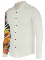 Turn-Down Collar Devil Print Long Sleeve Shirt For Men -