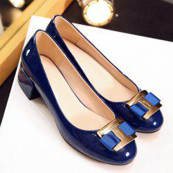 Elegant Metal and Patent Leather Design Flat Shoes For Women -