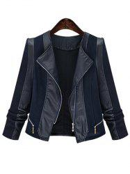 Chic Zipped Leather Patchwork Jacket For Women - BLACK